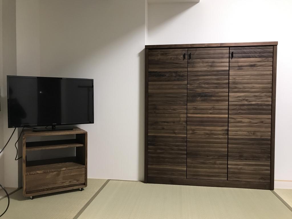 SOLID ミヤモト家具 富山 金沢 無垢材 オーダー ウォールナット 本棚 TVボード